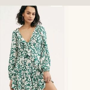 Free People Rebecca Floral Ruffled Dress Emerald
